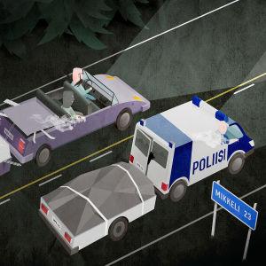 Illustration över en polisbil som kör på en väg.