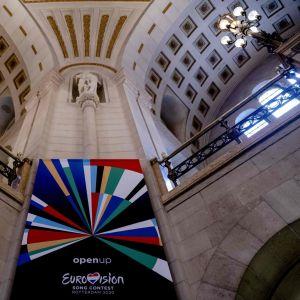 Eurovision laulukilpailun lippu Rotterdamissa, Alankomaissa.