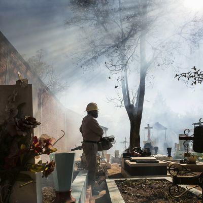 Mies savuisella hautausmaalla.