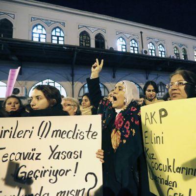 Lakiehdotusta vastaan osoitettiin mieltä Taksimin aukiolla perjantaina.