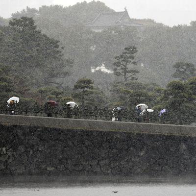Ensilumi sataa Tokiossa.