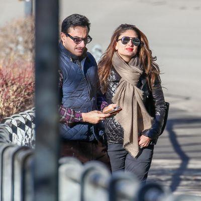 Saif Ali ja Kareena Kapoor Khan kuvattuna Gstaadissa, Sveitsissä joulukuussa 2015.