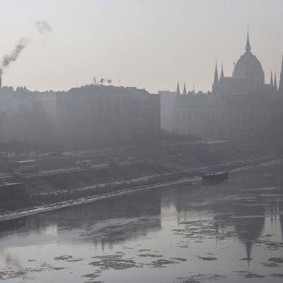 Savusumua Budapestissa, Unkarissa, 24. tammikuuta.