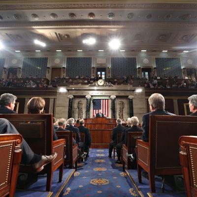 Yhdysvaltain presidentti Donald Trump piti ensimmäisen puheensa Yhdysvaltain kongressille 28. helmikuuta 2017.