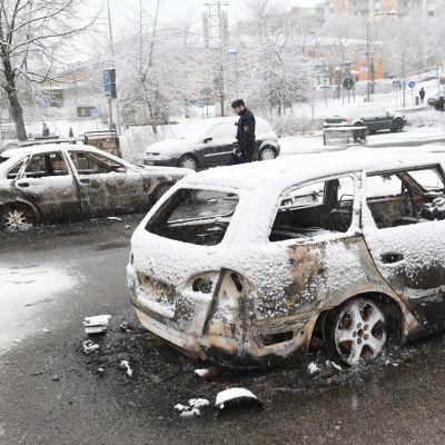 Lumen peittämiä poltettuja autoja
