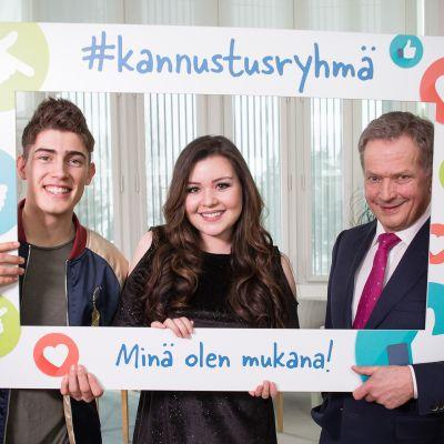 Presidentti Niinistö, Diandra ja Robin käynnistivät #kannustusryhmä-kampanjan kiusaamisen vähentämiseksi .