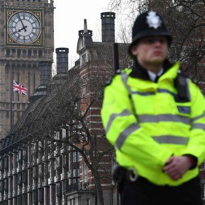 Poliisi vartioi parlamentin lähellä.