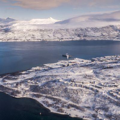 Luminen Hammerfest ilmakuvassa.