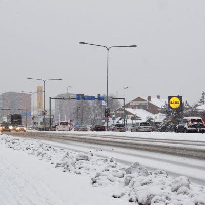 Snöfall i Åbo.
