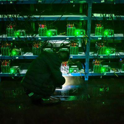 Bitcoinin louhintatietokoneita.