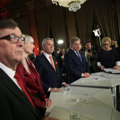 Paavo Väyrynen, Laura Huhtasaari, Pekka Haavisto ja Sauli Niinistö.