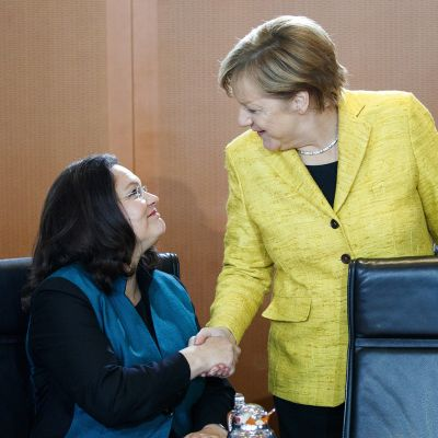 Andrea Nahles ja Angela Merkel Berliinissä syyskuussa 2017.
