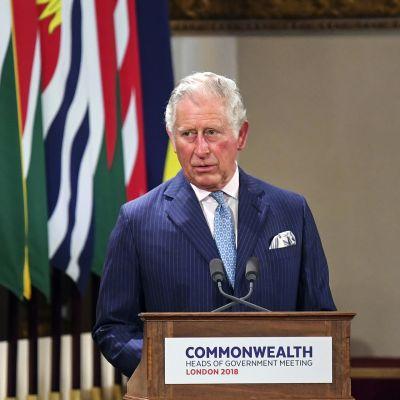 Britannian kruununprinssi Charles pitää puhetta, taustalla Kansainyhteisön jäsenmaiden lippuja.