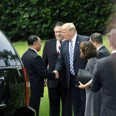 Mike Pompeo ja Donald Trump tapaavat Kim Yong-cholin  Washingtonissa.