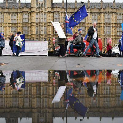 Brexit-erosopimuksen vastustajat osoittavat mieltään parlamenttitalon edustalla Lontoossa.