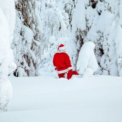 joulupukki tallustaa talvimaisemassa