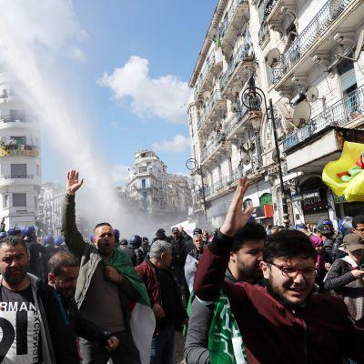 Mielenosoittajia Algeriassa.