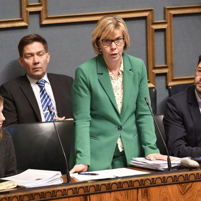 Oikeusministeri Anna-Maja Henriksson (RKP) puhuu eduskunnan suullisella kyselytunnilla Helsingissä 7. marraskuuta.
