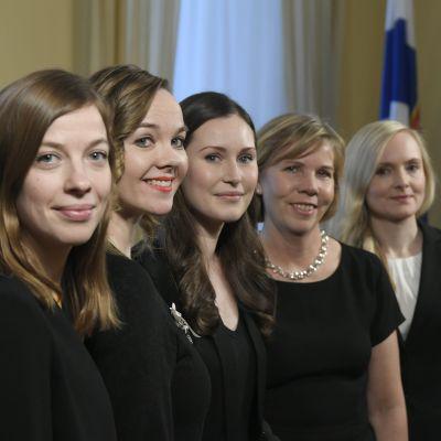 Li Andersson, Katri Kulmuni, Sanna Marin, Anna-Maja Henriksson ja Maria Ohisalo.