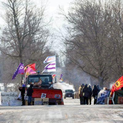 Alkuperäiskansojen protesti Ontariossa.
