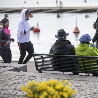 ihmisiä ulkoilemassa Kaivopuiston rannassa