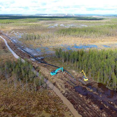 Suurikuusikon kaivoksen purkuputken rakennustyömaa Kittilässä.
