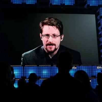 Edward Snowden marraskuussa 2019 sanavapautta puolustavan järjestön videokokouksessa.