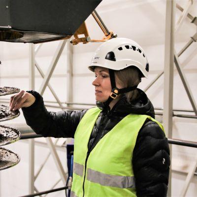 Henna Karlsson puhdistaa poraa.