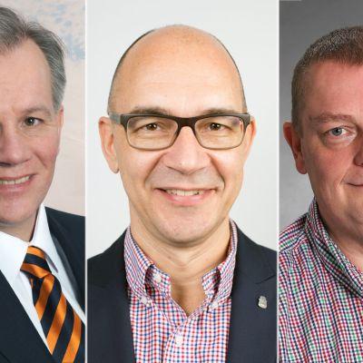Kemin kaupunginjohtajaehdokkaat (vasemmalta) Jukka Varonen, Jukka Vilén ja Matti Ruotsalainen.