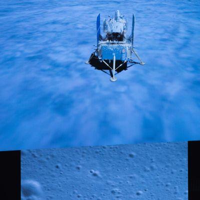 Kiinalainen Chang'e-5-luotain laskeutuneena Kuuhun 1.12.2020.