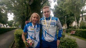Amy Nymalm och Olli Ojanaho, junior-EM i orientering, Rumänien juni 2015.