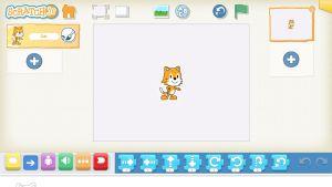 I Scratch Jr får man de pigga figurerna att prata prata med ett barns röst.