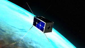Konstnärens uppfattning av Aalto-2-satelliten i rymden.