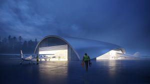 Skiss över framtida luftfartsmuseum