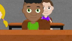 En ritad bild av en pojke i skolbänken