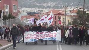 Protester på Lesbos