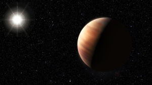 Konstnärens uppfattning av en gasjätteplanet i ett annat solsystem.