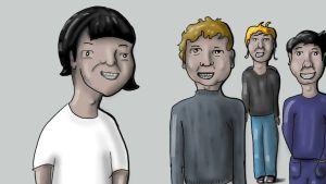 Illustration med flera personer.