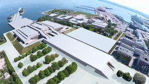 En bild på hur Tallinn planerar att området runt Linnahall ska utvecklas med en ny passagerarterminal som a och o, men också konferens- och köpcenter och konsertsalar.
