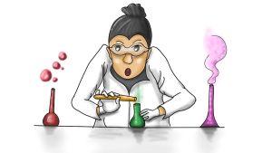 Illustration av en kvinna som gör kemiska experiment