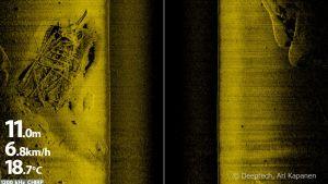 Ekolodad bild av vrak på havsbottnen