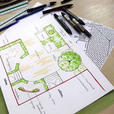Valmiiksi piirretty puutarhasuunnitelma.