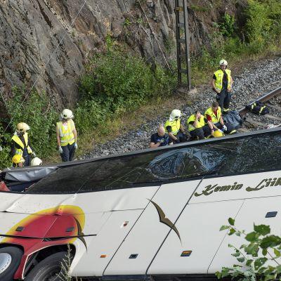 Rautateille syöksynyt linja-auto Kuopiossa.