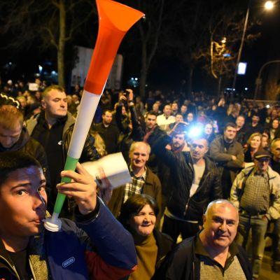 Mielenosoitus presidenttiä vastaan Montenegron pääkaupungissa Podgoricassa.