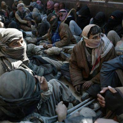Isisin viimeinen linnake Baghuz vallattiin maaliskuussa. Tässä pakolaismiehiä kuorma-auton kyydissä lähellä Baghuzia helmikuussa.