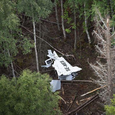 Metsään syöksyneen lentokoneen jäänteet.