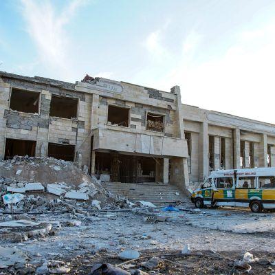 Pommituksissa tuhoutunut Sairaala Idlibissa Syyriassa.