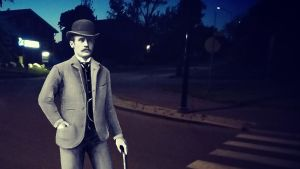 En tecknad man står på en mörk gata.