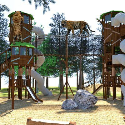 Havainnekuva Ranuan eläinpuiston uudesta leikkialueesta.