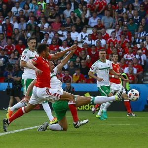 Gareth McAuley skickar in bollen bakom den egna målvakten och skjuter Wales till kvartsfinal.